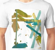 Spilled Paint Design - Teals and Gold Unisex T-Shirt