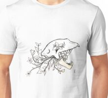 Wolf Skull with Flowers Unisex T-Shirt