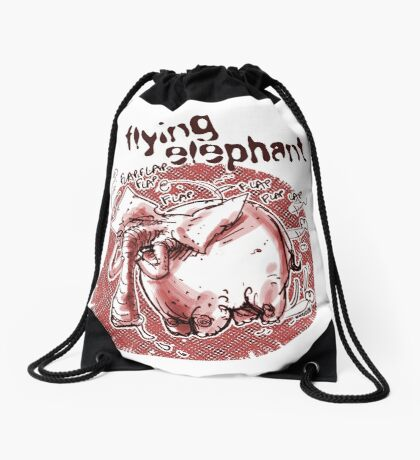 flying elephant Drawstring Bag