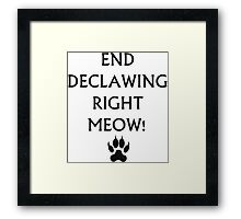 An End to Declawing Framed Print