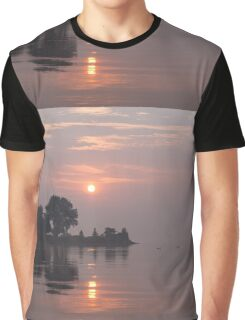 Rose Quartz Sunrise with Swans Graphic T-Shirt