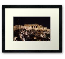 Acropolis Parthenon Night Glow Framed Print