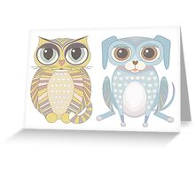 Cat and Lanky Dog Greeting Card
