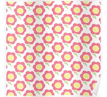 Simple baby pattern. Cute seamless wallpaper. Doodle little flower pastel background.  Poster