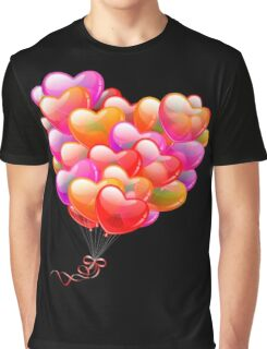 Red , Orange, Pink, Purple and Lilac Hearts Shaped Balloons , Love, Romance, Excitement, Art, Happiness  Graphic T-Shirt