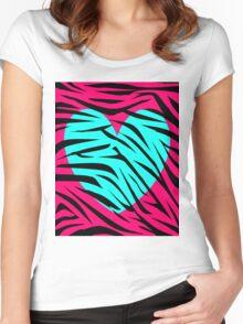 Teal Pink Zebra Heart Women's Fitted Scoop T-Shirt