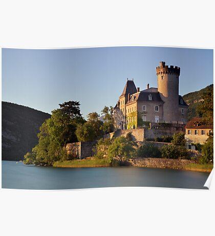 Summer light on Duingt castle Poster