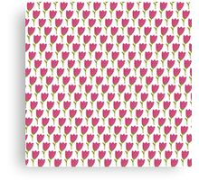 Simple doodle tulip pattern. Cute flower seamless background. Summer wallpaper. Canvas Print