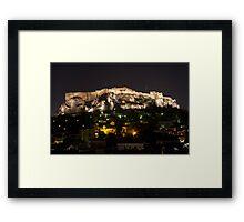 Acropolis Plaka Night Glow Framed Print