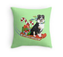 Black Tri Aussie on a Sled Throw Pillow