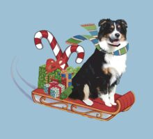 Black Tri Aussie on a Sled Kids Clothes