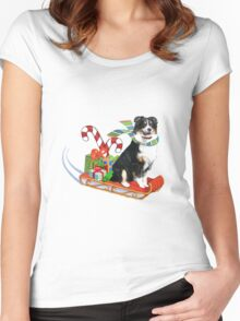 Black Tri Aussie on a Sled Women's Fitted Scoop T-Shirt