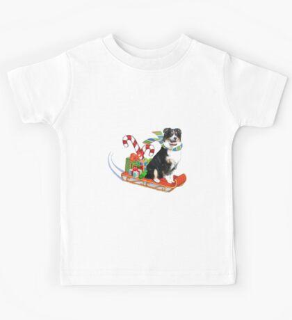 Black Tri Aussie on a Sled Kids Tee