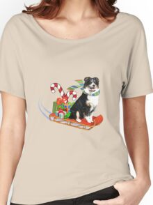 Black Tri Aussie on a Sled Women's Relaxed Fit T-Shirt