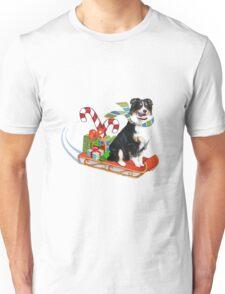 Black Tri Aussie on a Sled Unisex T-Shirt
