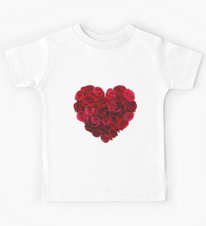 Red,cute,beautiful,roses,shaped as a heart,girly,valentine,love,lovely Kids Tee