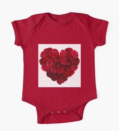 Red,cute,beautiful,roses,shaped as a heart,girly,valentine,love,lovely One Piece - Short Sleeve