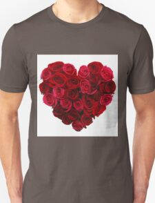 Red,cute,beautiful,roses,shaped as a heart,girly,valentine,love,lovely Unisex T-Shirt