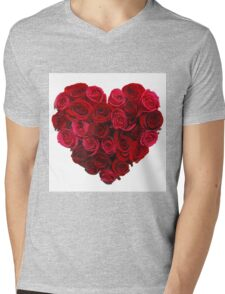 Red,cute,beautiful,roses,shaped as a heart,girly,valentine,love,lovely Mens V-Neck T-Shirt