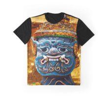 Blue Thai Yaksha Demon statue face mask  Graphic T-Shirt
