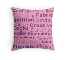 Crafty Text - Purple (inverted) Throw Pillow