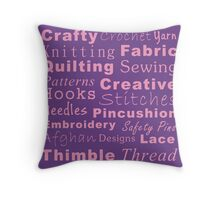 Crafty Text - Purple Throw Pillow