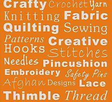 Crafty Text - Orange (inverted) by Irena Paluch