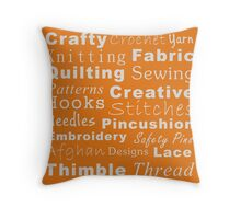Crafty Text - Orange (inverted) Throw Pillow