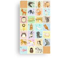 English Animal Alphabet Canvas Print