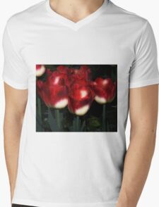 Red And White Tulips Mens V-Neck T-Shirt