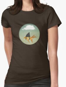Under a Cloud, Goldfish with a Shark fin Womens Fitted T-Shirt
