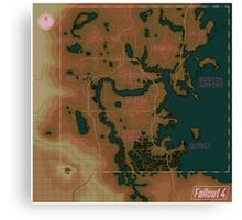 Fallout 4 Blank Map with Regions Canvas Print