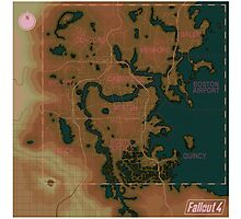 Fallout 4 Blank Map with Regions Photographic Print