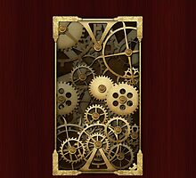 Steampunk cover wood and brass gears by Confundo