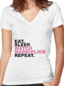 EAT, SLEEP, MARKIPLIER, REPEAT. Women's Fitted V-Neck T-Shirt