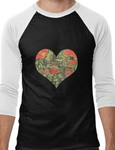 Paint and Ink Poppies Men's Baseball ¾ T-Shirt
