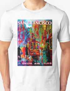 """DELTA AIR LINES"" Fly to San Francisco Print Unisex T-Shirt"