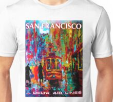 """""""DELTA AIR LINES"""" Fly to San Francisco Print Unisex T-Shirt"""