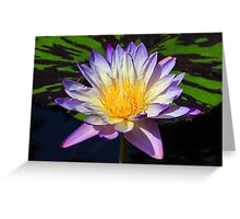 Beautiful Water Lily and Lily Pad Greeting Card