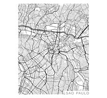 Sao Paulo Map, Brazil - Black and White Photographic Print