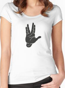Spocks Hand Galaxy Women's Fitted Scoop T-Shirt