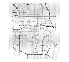 Calgary Map, Canada - Black and White Poster