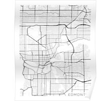 Edmonton Map, Canada - Black and White Poster
