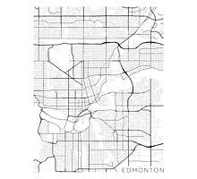 Edmonton Map, Canada - Black and White Photographic Print