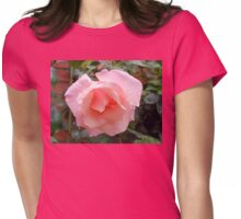Pink Rose with Raindrops Womens Fitted T-Shirt