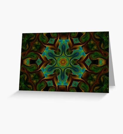 Peacock Green mandala design Greeting Card
