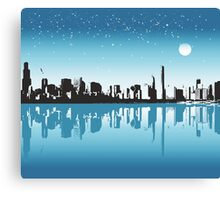 Cityscape, Skyline, Metro, Night Canvas Print