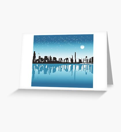 Cityscape, Skyline, Metro, Night Greeting Card
