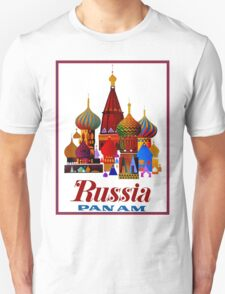 """PAN AM AIRWAYS"" Fly to Russia Advertising Print Unisex T-Shirt"