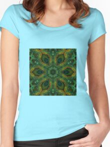 Peacock green mandala Women's Fitted Scoop T-Shirt